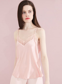 Solid Color Lace Splicing V-neck Sweet Cami