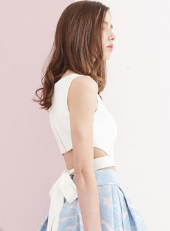 Brief O-neck Hollow Out Sleeveless Tied Slim Tank