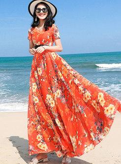 Bohemian Summer Print V-neck Big Hem Holiday Maxi Dress