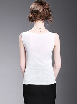 Brief Sleeveless Embroidered O-neck Summer Tank