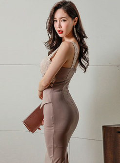 Lace Backless Patchwork Slip Bodycon Dress