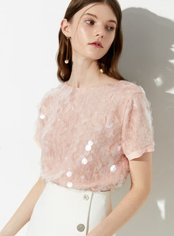 Stylish Sequined O-neck Loose Casual T-shirt