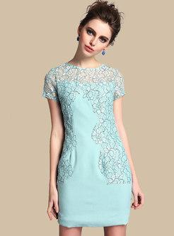 Stylish Lace See-though Splicing Mini Sheath Dress