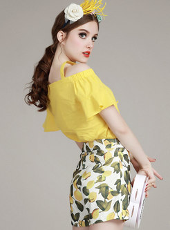 Off-the-shoulder Yellow Top & Sweet Print Shorts
