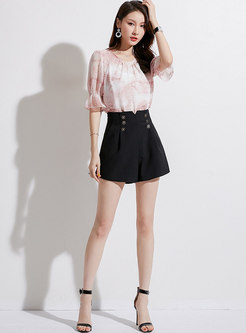 Chic High Waist Button All-matched Casual Shorts