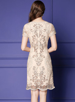 Lace Sequin Embroidered Openwork Sheath Dress