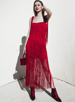 Chic Backless Personality Tassel Party Maxi Dress