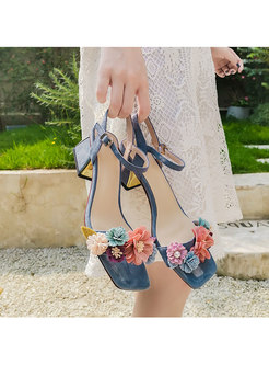 Brief Flowers Chunky Heel Summer All-matched Sandals