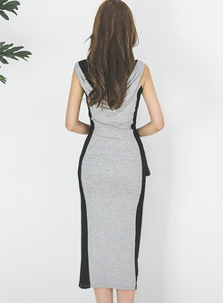 Color-blocked Hooded Slit Bodycon Dress