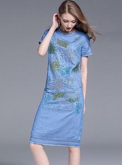 Fashion Denim O-neck Beaded Sequined Sheath Dress