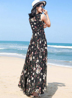 Bohemian Floral Print V-neck Sleeveless Maxi Dress