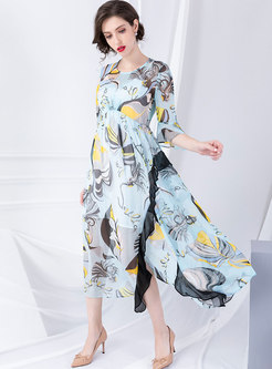 Stylish O-neck Print Falbala Big Hem Maxi Dress