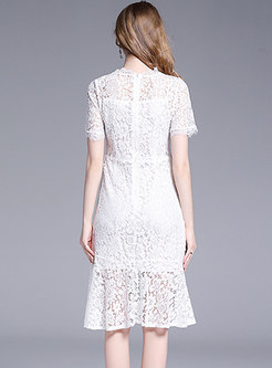 Trendy Pure Color Lace High Waist Mermaid Bodycon Dress