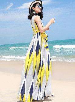 Stylish Color-blocked Sleeveless Chiffon Holiday Maxi Dress