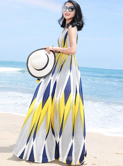 Stylish Color-blocked Sleeveless Chiffon Holiday Maxi Dress