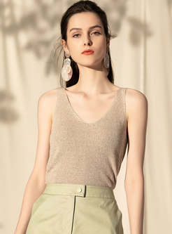 Solid Color Summer All-matched Linen Cami