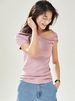 Solid Color Off Shoulder Summer Knitted Top