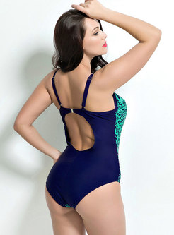 Sexy Print Plus Size One Piece Swimsuit