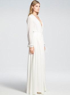 Boho White Deep V-neck Maxi Beach Dress