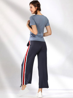 Solid Color Breathable T-shirt & Striped Splicing Pants