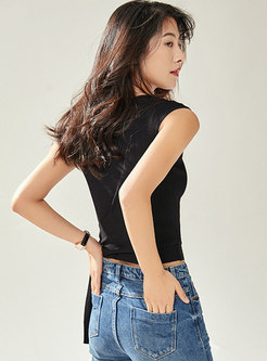 Brief O-neck Pure Color Tied Sleeveless Top