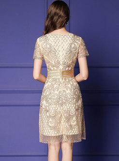 Gathered Waist Slim Embroidered A Line Dress