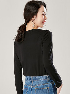 Brief Letter Print Casual Long Sleeve T-shirt