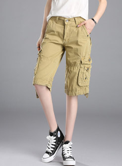 Pure Color Casual Straight Cargo Pants