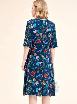Stylish Floral Print Silk Half Sleeve Skater Dress