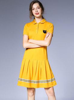 Brief Lapel Beaded Loose T-shirt Dress