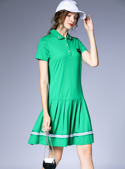 Casual Lapel Cartoon Loose Pleated T-shirt Dress