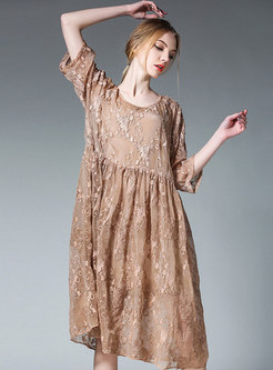 Solid Color Plus Size Loose Embroidered Shift Dress