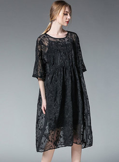 Summer Personality O-neck Embroidered Shift Dress