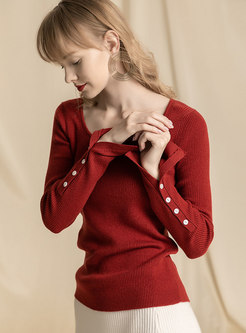 Brief Striped Pure Color Pullover Sweater