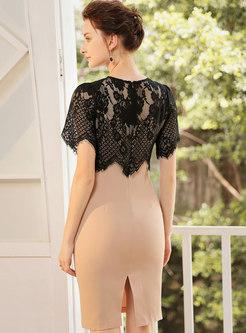 Lace Splicing Gathered Waist Personality Bodycon Dress