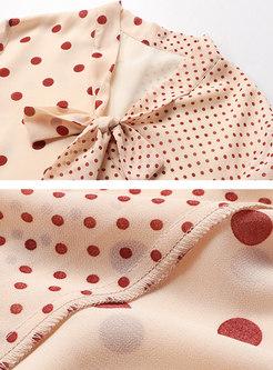 Fashion V-neck Polka Dot Flare Sleeve Blouse