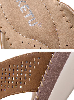 Rhinestone Pure Color Wedges Breathable Casual Slippers