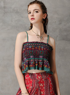 Vintage All-matched Backless Print Cami