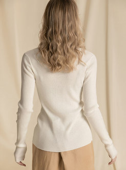 Casual V-neck Split Long Sleeve Split Sweater