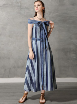 Stylish Denim Backless Slash Neck Striped Maxi Dress