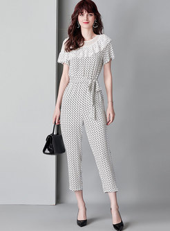 Tied Print Gathered Waist Splicing Falbala Jumpsuit