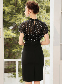 Elegant Polka Dot Splicing Work Slim Bodycon Dress