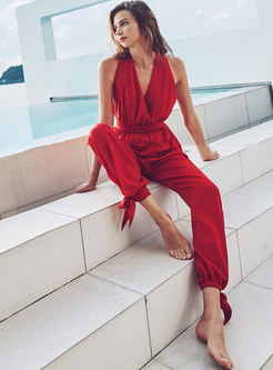 Stylish Backless High Waist Red Seaside Holiday Jumpsuit