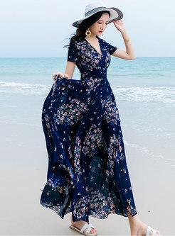 Boho Chiffon Floral Print Big Hem Holiday Maxi Dress