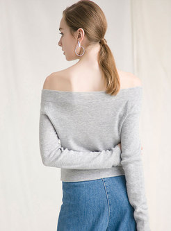 Stylish Slash Neck Backless Pure Color Sweater