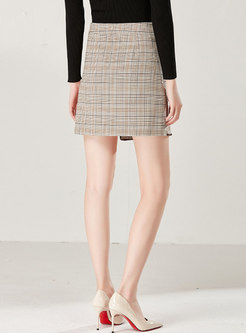 Brief Plaid Asymmetric High Waist A Line Skirt