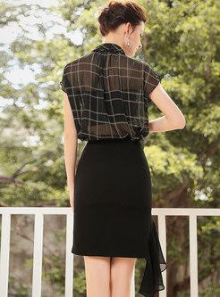 Sexy See-though Plaid Top & Asymmetric Mesh Mini Skirt