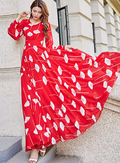 Stylish O-neck Print Big Hem Holiday Maxi Dress
