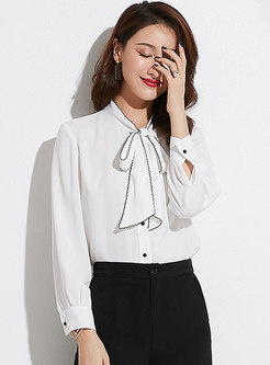 Brief Work Stand Collar Bowknot Chiffon Blouse