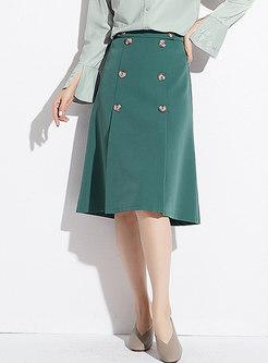 Brief Green High Waist Slim A Line Skirt